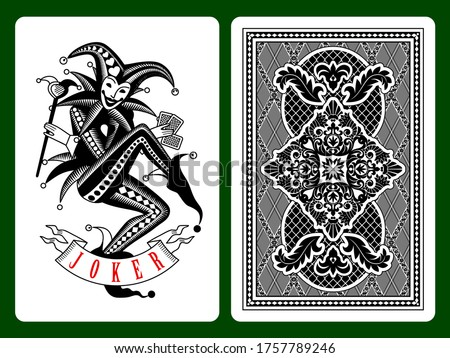 joker playing card on black and