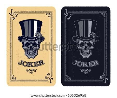 Joker playing card. skull poker card vector illustration