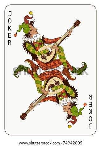 Joker Playing Card. The vector art image is very well-organized in groups