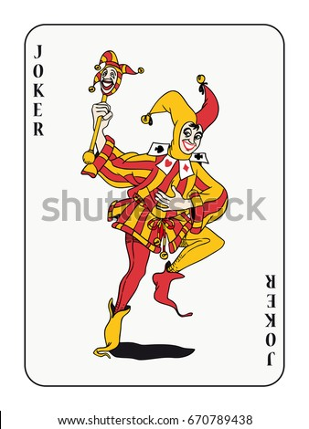 joker playing card with red and