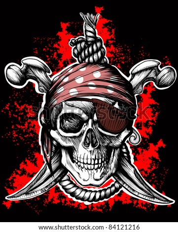 Jolly Roger, a pirate symbol with crossed daggers and a rope on the black and red background