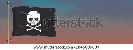 Jolly Roger flag, waving on a dark rainy sky background. Black torn pirate flag with a skull symbol. Waving vector flag with crossbones emblem hanging on a wooden pole. Piracy horizontal banner design Сток-фото ©