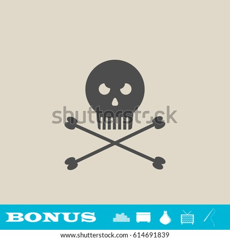 jolly roger icon flat grey