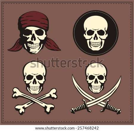 jolly roger pirate symbol set