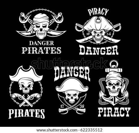 jolly roger pirate vector icons