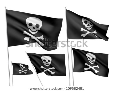 Jolly Roger (simple version) vector flags. A set of 5 wavy 3D flags created using gradient meshes.