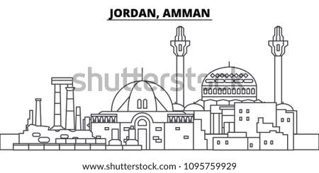 Jordan, Amman line skyline vector illustration. Jordan, Amman linear cityscape with famous landmarks, city sights, vector landscape.