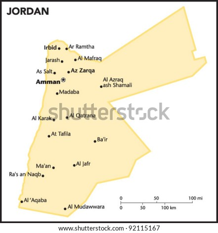 Jordan Country Map - stock vector