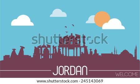 jordan skyline silhouette flat