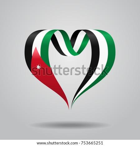 Jordanian flag heart-shaped wavy ribbon. Vector illustration.