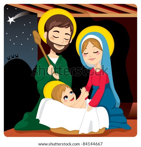 Joseph and Mary joyful with baby Jesus laughing and three wise kings on the horizon following the Star of Bethlehem