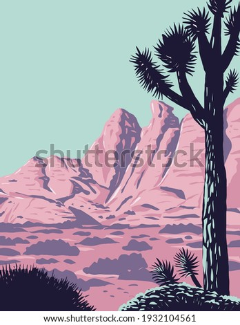 Joshua Tree in the Remote and Rugged Desert Landscape of Gold Butte National Monument in Clark County Nevada WPA Poster Art