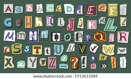 Journal cut letters and symbols set. Colorful alphabet selected from newspaper clippings with capital letters anonymous art typing from scrap letters. Vector typographic communication.