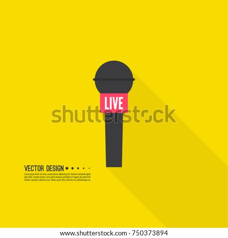 Journalism concept. Live news vector template with microphone.