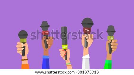 Journalism concept . Set of hands holding microphones. Press hands flat hand. Microphone. Hands holding microphones. Journalist. Microphone vector. Set of microphones Isolated. Hand with microphone.