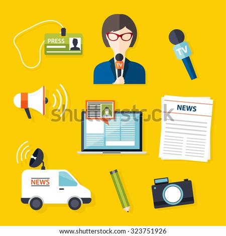 Journalism press news reporter. Set of vector journalism icons in flat design style spokesperson, interview, microphone, tv etc, newspaper. Modern flat concept.