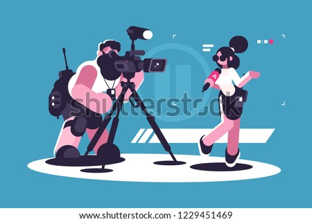 Journalist and cameraman doing report together. Girl reporter standing with microphone and filmmaker videotaping her reportage flat style concept vector illustration