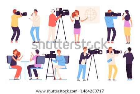 Journalist characters. Broadcaster news journalists director broadcasting camera crew cameraman broadcast tv studio reportage vector. Illustration of cameraman and operator, professional crew