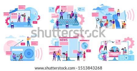 Journalist concept. Mass media profession, internet and radio journalism, digital tv. Interview recording with cameraman vector blog content television or newspaper set