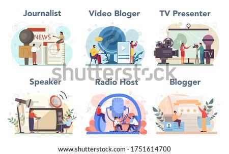 Journalist concept set. Newspaper, internet and radio journalism. TV reporter , video blogger, radio host, speaker. Mass media profession. Vector illustration in cartoon style Photo stock ©