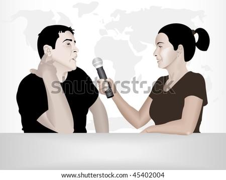 Journalist interviewing a guest in a TV studio