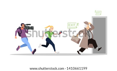 Journalist interviewing running away politician flat illustration. Press reportage, mass media, journalism. Correspondents, news reporters, paparazzi chasing famous person isolated cartoon characters