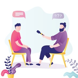 Journalist interviews businessman or celebrity. Reporter holding microphone and give questions. Business people sitting on chairs. Male characters in trendy style. Flat vector illustration