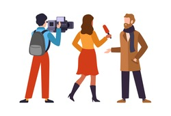 Journalist interviews celebrity. Newscaster and journalist profession. Operator holds camera and reporter with microphone speaks with popular person, television industry cartoon flat vector characters