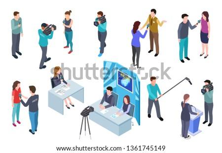 Journalist isometric. Camera man tv crew studio press news broadcast journalists mass media broadcasting radio interview 3d vector set