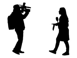 Journalist News Reporter Interview with camera crew vector silhouette illustration isolated. TV reporter interviewed people on the street. Cameraman, light, sound assistant backup to presenter lady.