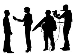 Journalist News Reporter Interview with camera crew vector silhouette illustration isolated. TV reporter interviewed man on the street. Cameraman and light and sound assistant backup to presenter lady