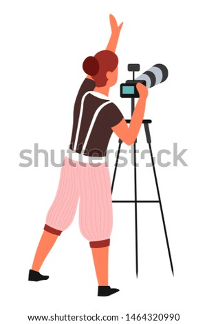 Journalist or paparazzi photographer with tripod and photo camera vector isolated character shooting or photographing photography and shots focus and composition professional work framework setting