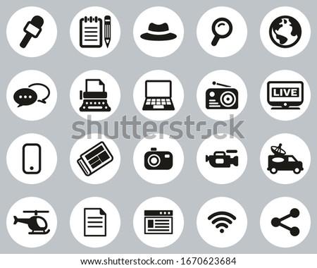 Journalist Or Reporter Icons Black & White Flat Design Circle Set Big Foto stock ©
