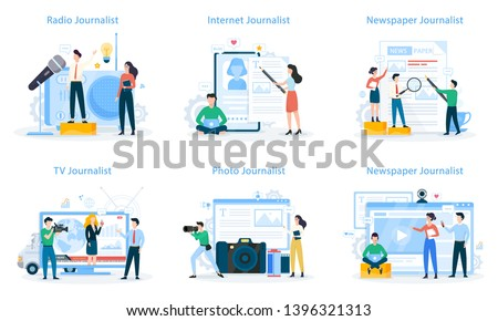 Journalist set. TV reporter with microphone. Mass media profession. Newspaper, internet and radio journalism. Vector illustration in cartoon style