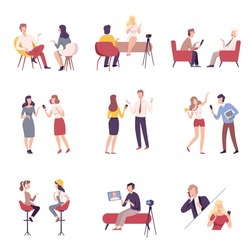 Journalists Interviewing Business People, Celebrities or Politicians Set, Communication, Business Meeting, Interviewing, Online Streaming Flat Vector Illustration