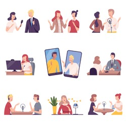 Journalists Interviewing Business People, Celebrities or Politicians Set, Online Communication, Business Meeting, Interviewing Flat Vector Illustration