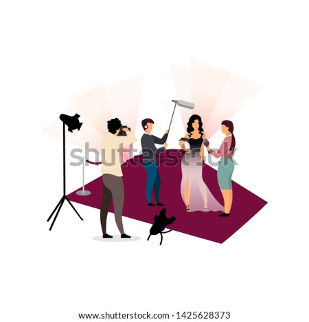 Journalists interviewing celebrity flat vector illustration. Photographers, paparazzi photographing movie star, female singer, famous person cartoon characters. Grand opening ceremony, concert