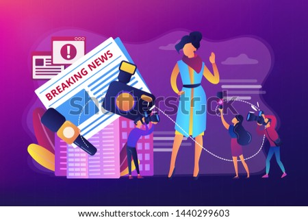 Journalists interviewing famous person. Reporters following celebrity. Yellow online press, paparazzi news feed, yellow journalism concept. Bright vibrant violet vector isolated illustration