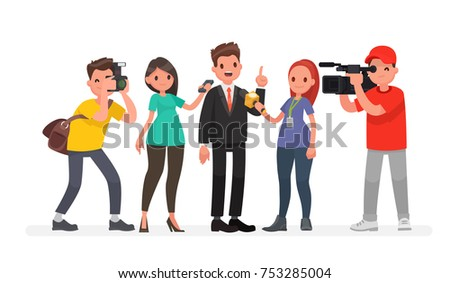 Journalists of news channels and radio stations are take interviewed. Characters videographer and photographer. Vector illustration in a flat style Foto stock ©
