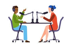 Journalists or newscaster. Man and woman talk live, podcast or broadcast online show, headphones and microphones in studio, interviewer or professional discussion vector flat cartoon isolated concept