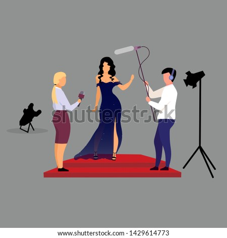 Journalists, reporters interviewing celebrity flat vector illustration. Interviewers with microphones asking movie star, female singer, famous person cartoon characters. Red carpet ceremony, concert