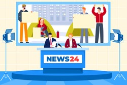 Journalists work in news studio, people on television, communication with announcer, design cartoon style vector illustration. Round clock broadcasting, professional reporter, broadcast strike.