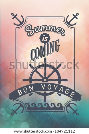 journey by sea / vintage calligraphic text on blurred background