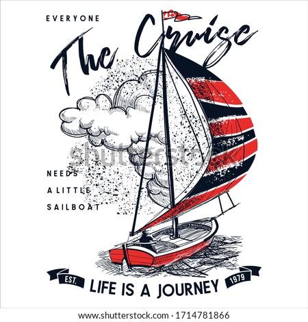 Journey Cruise sailboat print hand drawn on white background vector illustration t-shirt print for men menswear