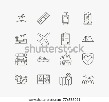 Journey icon line set with travel insurance, map location and luggage suitcase. Set of tent related journey icon line vector items for web mobile logo design.