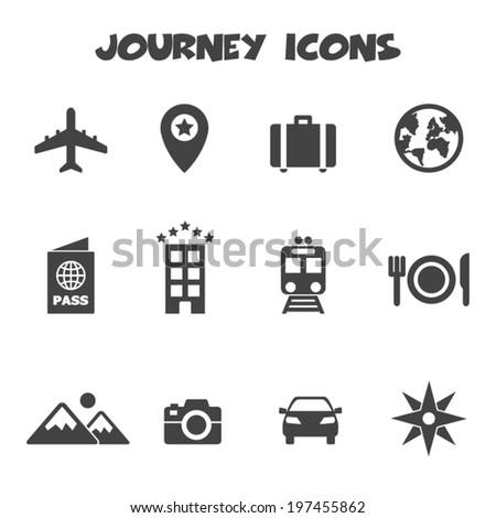 journey icons  mono vector