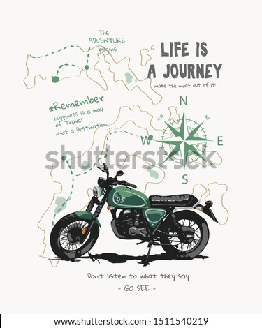 journey slogan with motorcycle and travel map illustration