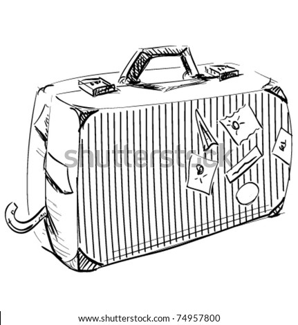 Journey suitcase hand-drawn sketch vector illustration