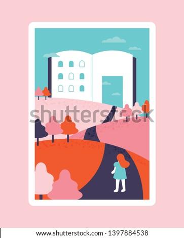 Journey to Books.fairy tale concept illustration. flat design style minimal vector illustration Photo stock ©