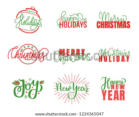 Joy and happy Holidays, Merry Christmas lettering, hand drawn doodle text. Xmas typography font for greeting cards and creative postcards design, vector